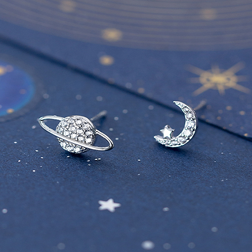Earth Planet and Neo Moon Crystal Sterling Silver Ear Studs
