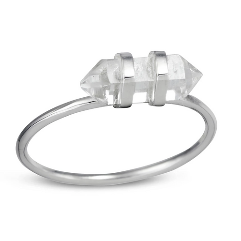 Empress Double Point Crystal Sterling Silver Ring