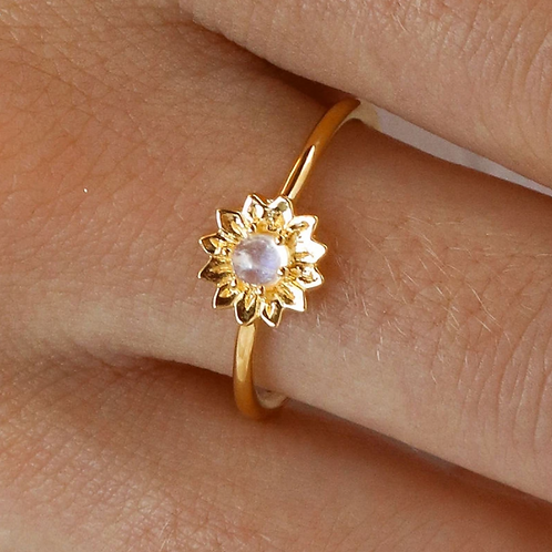 Gold Delicate Sunflower Moonstone Sterling Silver Ring