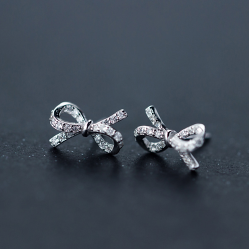 Bow Tie Micro-Inlay White Crystal Sterling Silver Earrings