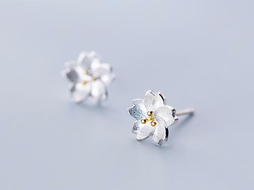Sakura Sterling Silver Ear Studs