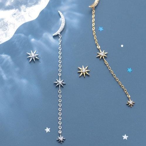 Cresent Moon Pointed Star Dangle Earrings - MOOII