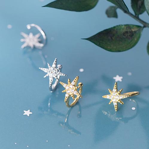 Sparkling Stars Diamond Sterling Silver Ear Cuff - MOOII