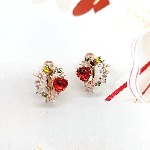 MOOII Crystal Heart Wreath Floral Clip On Earring