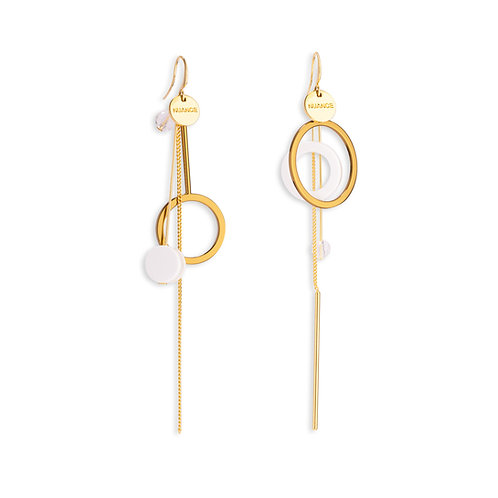 Drop Tassel and Double Hoops Asymmetric Earring - MOOII