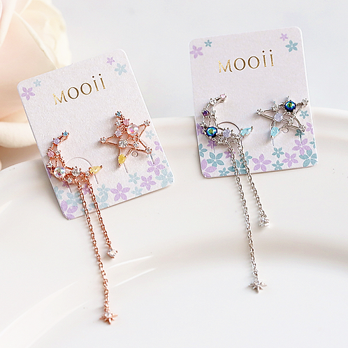 Hollow Out Moon and Pentagram Earring - MOOII