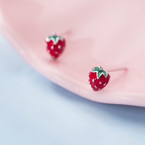 Cute Strawberry Glazed 925 Studs - Mooii
