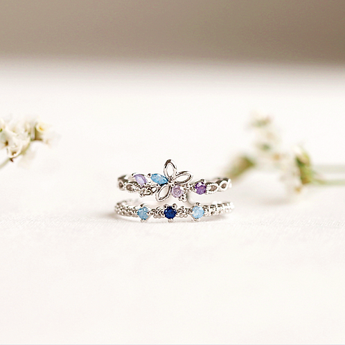 Five Petals Flower Double Layer Ring - MOOII