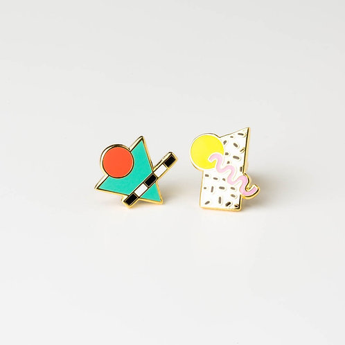 Yellow Owl 80'S Memphis Style Earrings