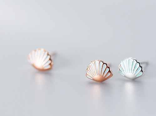 All Silver Shell Ear Studs