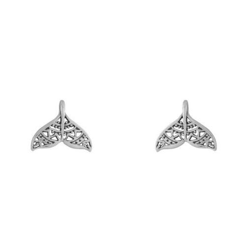 Mandala Dolphin Tail Sterling Silver Studs