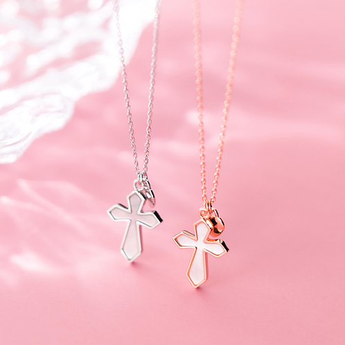 Cross with Heart Charm Necklace - MOOII