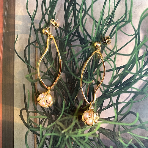 Golden Papaya and Pearl Dangle Earrings