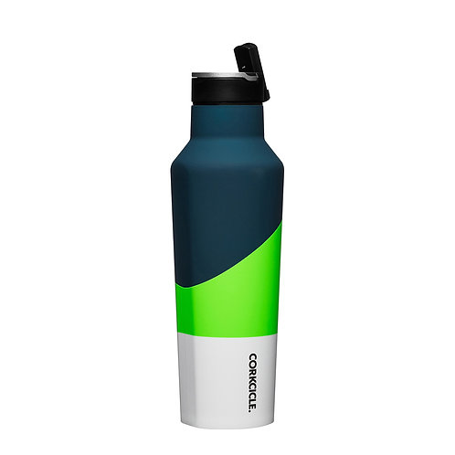 Corkcicle: Colour Block Sports Canteen 600ml - Electric Green
