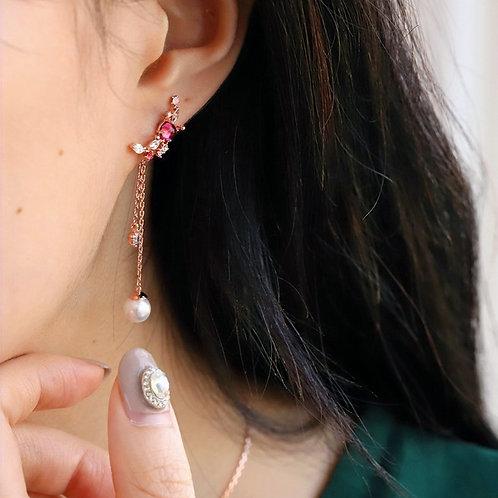 Crescent Moon Pearl Drop Asymmetric Dangle Earrings - MOOII