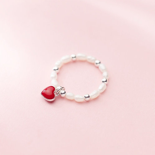 Heart on Pearl Ring