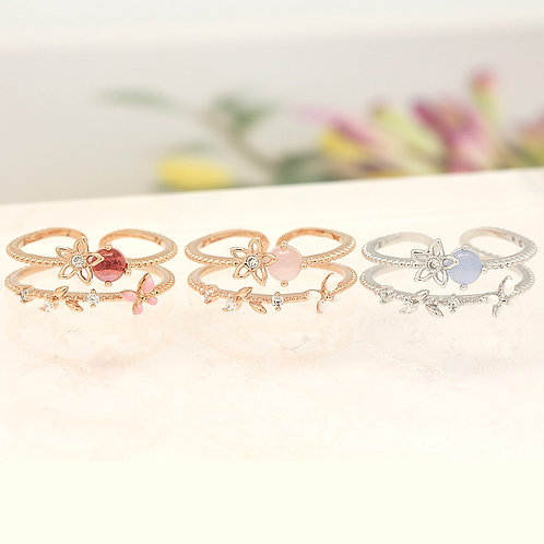 Round Gemstone and Butterfly Double Ring
