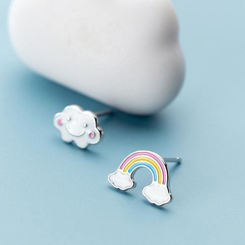 Enamel Cloud and Rainbow Studs - Mooii
