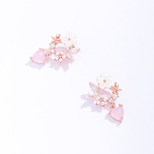 Dainty Sakura and Butterfly Wreath Earring with Love Heart Drop - MOOII