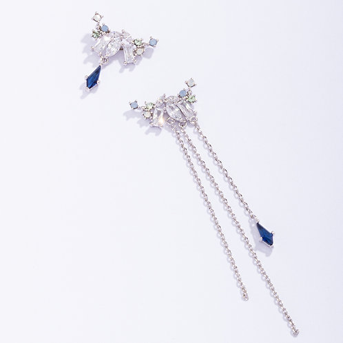Crystal Silver Tassel Earrings - MOOII