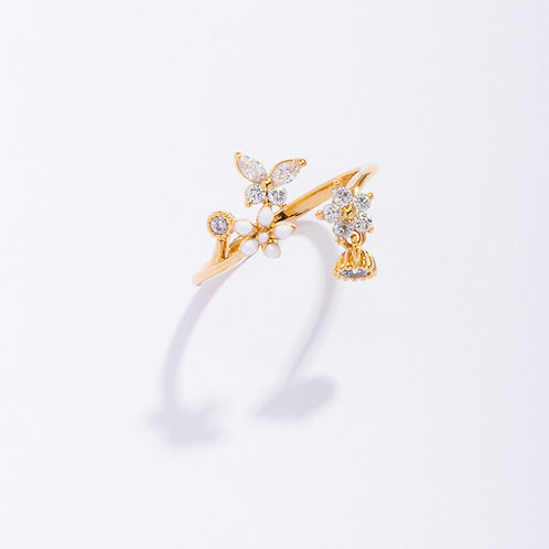 Crystal Butterfly and Plum Blossom Ring - MOOII