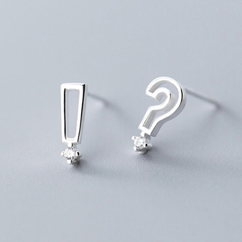Surprise and Question Marks Sterling Silver Ear Studs - MOOII
