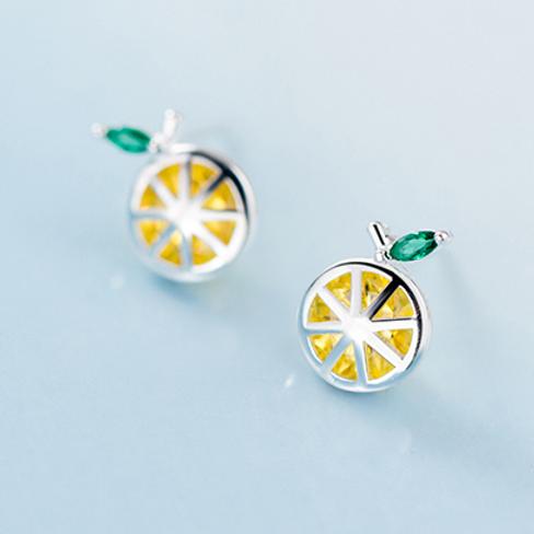 Lemon Slice Sterling Silver Ear Studs - MOOII