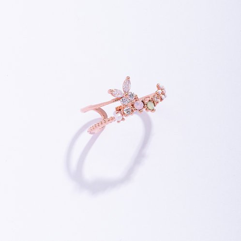 Butterfly Double  Band Crystal Ring - MOOII