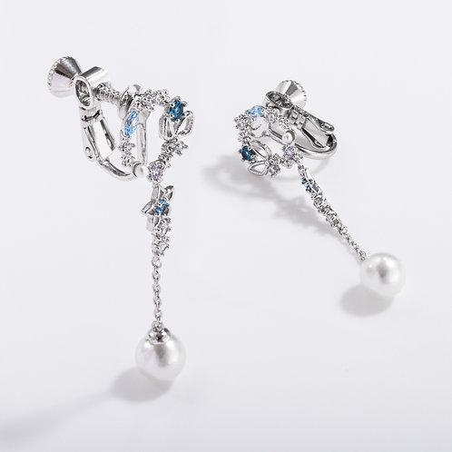 Crystal Wreath Clip on Earrings with Pearl Drop - MOOII