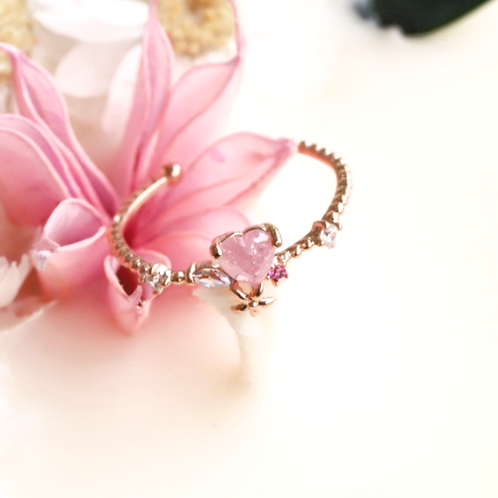 Heart Shaped Cubic Zirconia Open Floral Ring - MOOII