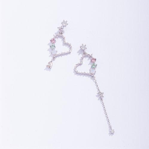 MOOII Silver Heart Shape Asymmetric Dangle Earring