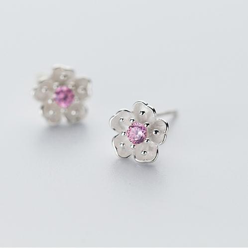 Plum Blossom Pink Crystal Sterling Silver Ear Stud