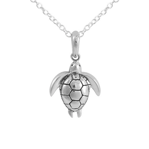 Long Reef Turtle Sterling Silver Necklace