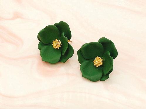 MOOII Green Blossom Statement Earrings