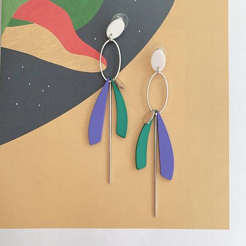 Geometric Teal and Purple Bar Earrings - MOOII