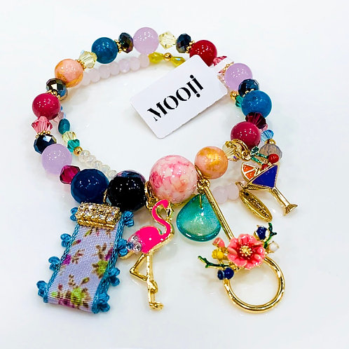 MOOII Handcrafted Bracelet - Agate with Flamingo and Cocktail Pendant