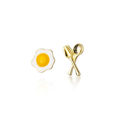 Fried Egg with Utensils Ear Studs - MOOII