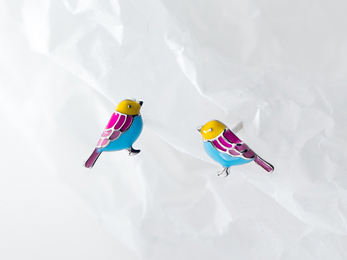 Mini Enamel Bird Sterling Silver Ear Studs- Mooii