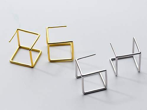 Hollow Cube Sterling Silver Earring - Mooii