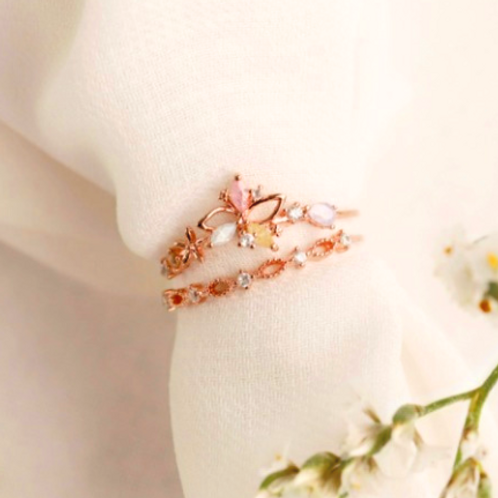 Pastel Flower Doubleline Ring- MOOII