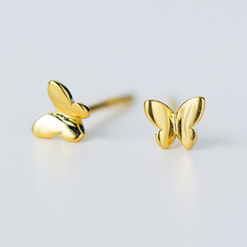 Golden Butterfly Sterling Silver Ear Studs - MOOII