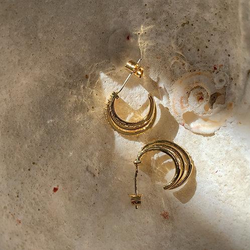 Triple Layers Golden Diamond Earring Hoops
