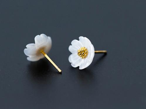 Gold Shell Flower 925 Silver Stud Earrings - Mooii