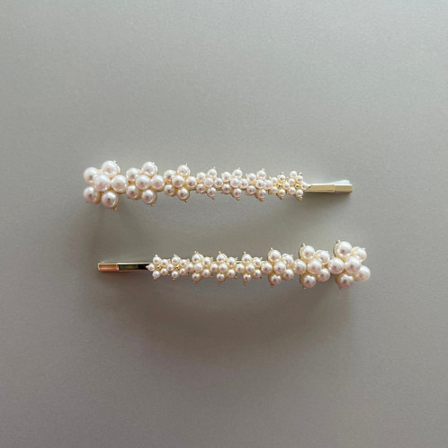 Plum Flower Pearl Hair Clip (Pair of Two) - MOOII