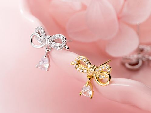 Elegant Bow with Drop 925 Silver Earring - Mooii