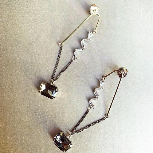 Grey Crystal Dangle Earrings