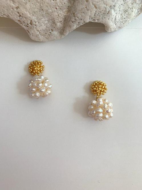 Golden Blossom and Flower Pearl Earrings