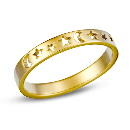 Gold Star Phase Sterling Silver Ring
