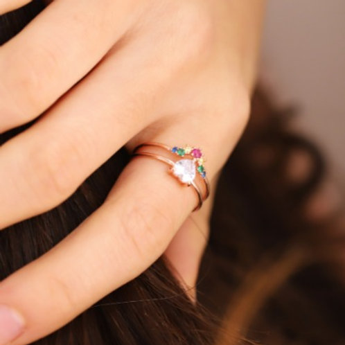 Double Band Diamond and Coloured Crystal Ring