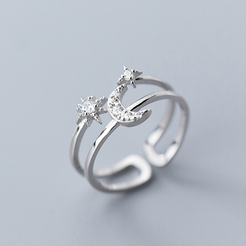 Celestial Moon and Star Double Line Ring - MOOII
